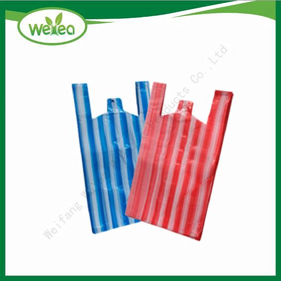 Polythene Candy Stripes Vest Carrier Bags