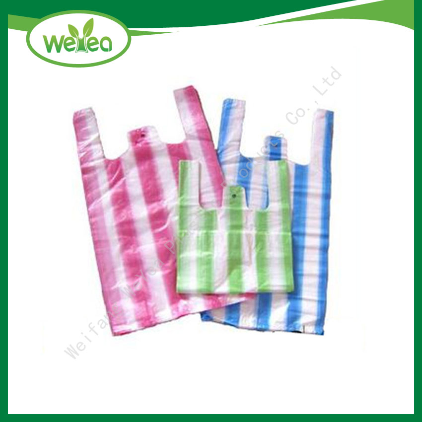 HDPE Candy Stripe Plastic Shopping Bags