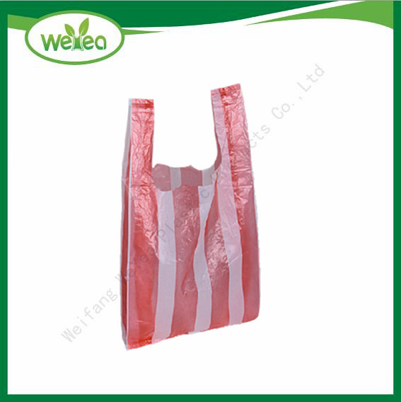 Red Stripe Printed Vest Carrier Bags